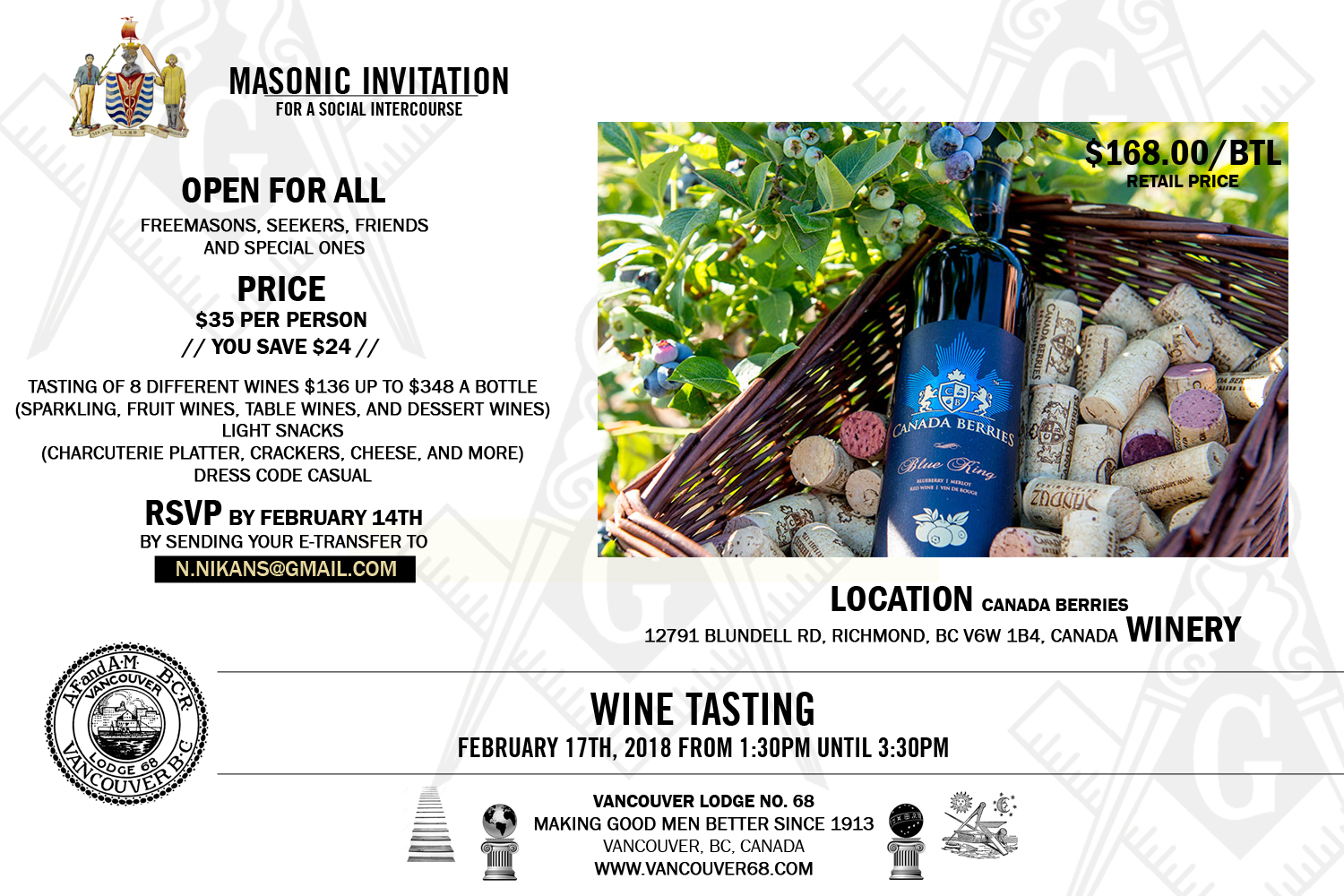Masonic Wine Tasting Event at Canada Berries Winery by Vancouver Lodge No 68